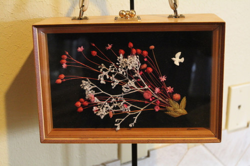 Vintage Wood Box Purse with Floral Front