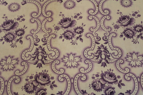 Cotton Fabric Lavendar Rose Floral Design Scroll Pontilism Design.