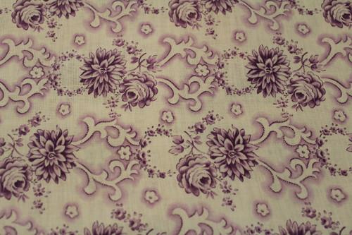 Cotton Fabric Lavendar Peony Mix Scroll Pontilism Design.