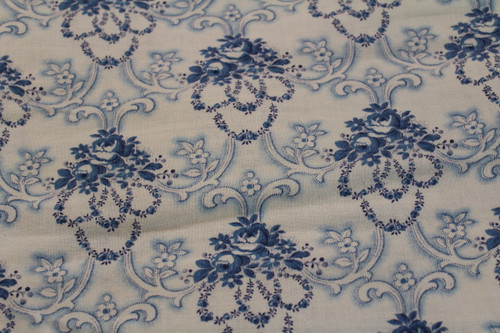 Cotton Fabric Blue Rose Floral Pontilism Scroll Futon