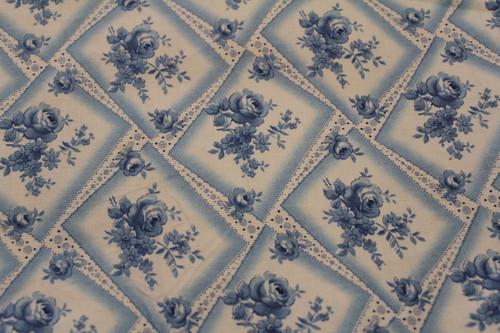 Cotton Fabric Blue Rose Floral Pontilism Design Squares