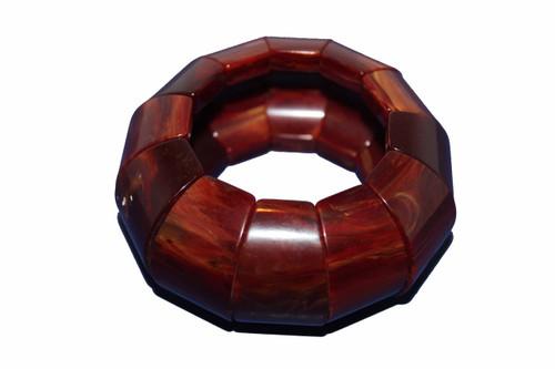 Marbled Dark Brown Bakelite 1.5 inch Chunky Stretch Bracelet