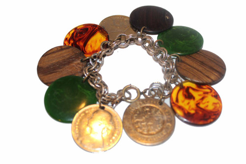 Gold Loop Charm Bracelet with Bakelite and Coin Charm Disks