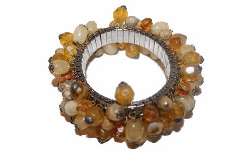 Yellow and Gold Beaded Expansion Bracelet