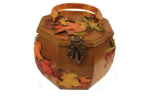 Vintage Brown Octagon Wood Leaf Purse