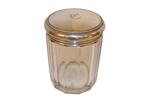 Cut Glass Tobacco Jar with Mogrammed Sterlng Silver Lid