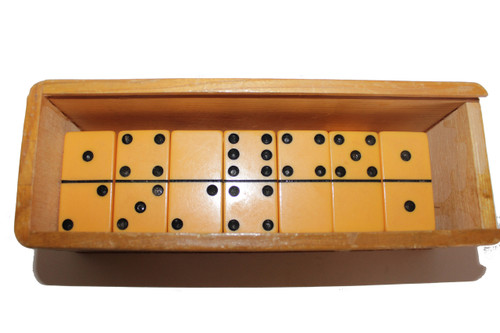 Yellow Bakelite Double Six Domino Set in Wooden Cerveza Box