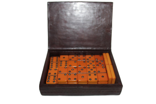 Butterscotch Yellow Bakelite Double Six Domino Set in Leather Wrapped Box