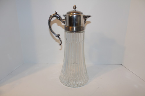 Vintage Ribbed Glass  Decanter with Italian Silverplate Handle and Spout