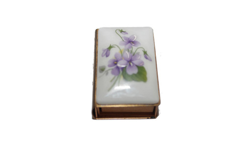 Porcelain and Brass Lilac Match Box