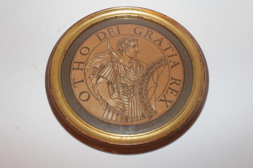 Framed Vintage Lithograph Medallion of Roman Emperor Otto