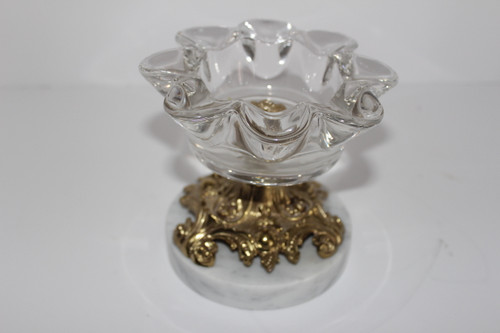 Hollywood Regency Glass Mint Dish with Marble Base