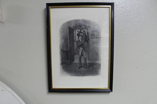 Antique Photogravure French Charles Dickens Print by Goupil & Co - A Christmas Carol