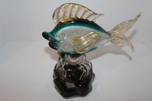 Rare Archimede Seguso Art Glass Blue and Gold Flecked Luxardo Fish Decanter