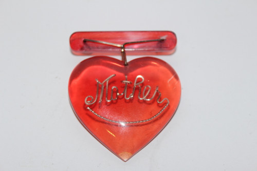 Red Lucite Mother Heart Brooch