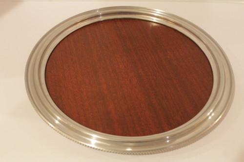 "Vintage  Mid Century Buenilum  Wood Grain Micarta 14"" Round Tray"