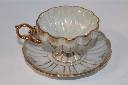 Vintage Iridescent Gold Teacup and Saucer Set