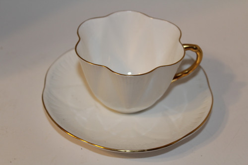 White with Gold Trim Teacup and Saucer Set
