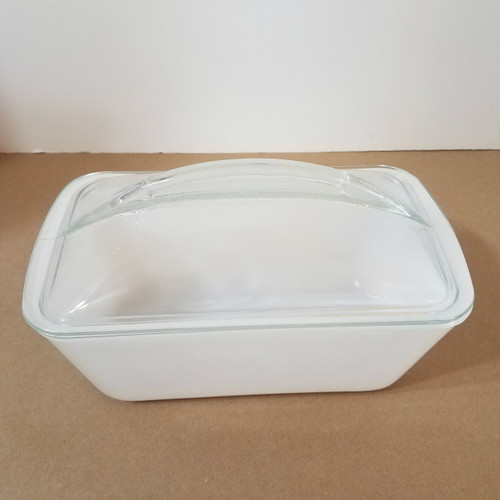 Vintage White Milk Glass Westinghouse Refrigerator Loaf Pan with Cover
