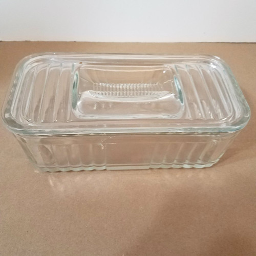 Vintage Clear Glass Refrigerator Container with Cover