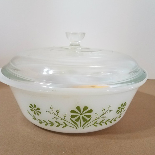 Vintage Glasbake J514 2 QT Casserole with Cover Green Daisy Pattern