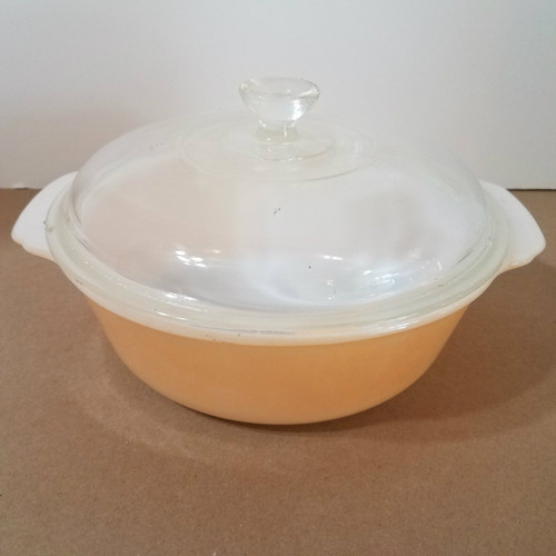 Vintage Fire King 2 QT Copper Covered Casserole Dish