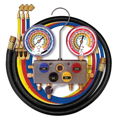 Mastercool 96361 4-Way 3/8 B/V Manifold w/3-1/4 hoses w/manual B/V 4-60 Hoses/gauge size 3 1/8