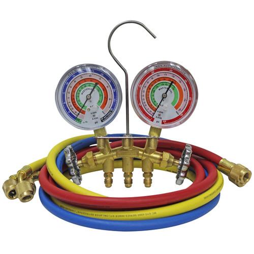 Mastercool 59161 R410A Brass 2-Way Manifold Gauge Set w/3-60 (152cm) hoses w/std 1/4 fittings/gauge size 3 1/8