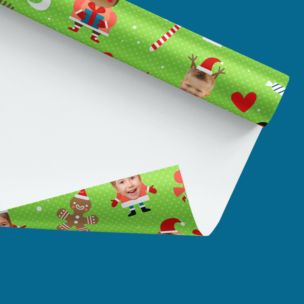 Roll of Christmas Wrapping Paper - Green Forest Faces