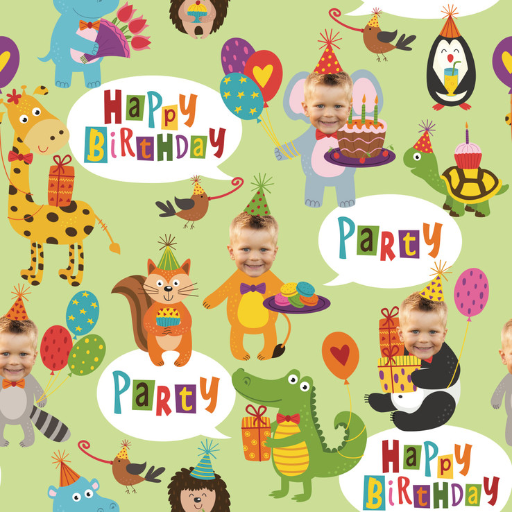Birthday Party Animal Wrapping Paper