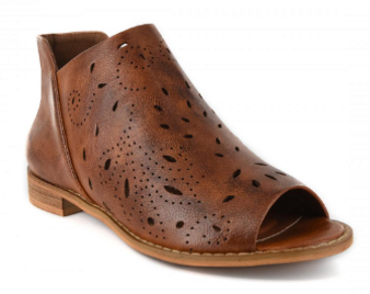 Look no further for the perfect footwear with these Corky's Norwich in Beautiful Cognac  The rich cognac colored faux leather features exquisite cutouts, zippered sides and open toe design.  Perfect accent with any outfit for the fall season.