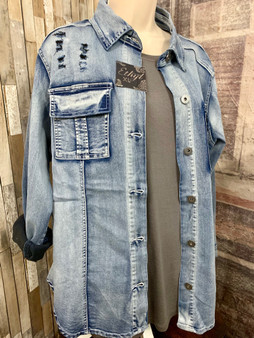 Cooler days are coming !  Dont be caught off guard without a jacket for those cooler days.  You will love this Army Style denim jacket from Blingz, Jeanz and Thingz.  This adorable denim jacket is packed with features--distressed on front and back, double front breast pockets, and stretchy fabric for extra comfort.  Acid wash look.