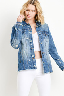 You can never go wrong with denim, and you will definitely not go wrong with this cute, basic Oversized, Distressed denim jacket.  All the features of a classic jean jacket, collared, button up, double breasted pockets, side pockets, with a distressed look.  100% cotton denim