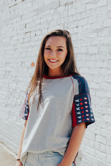 The perfect American themed sleeves knit top is this cute top right here !  Star  print, mix n match, short sleeve, cotton spandex, boxy tee, denim patches and stitch trim detail, color blocking  Available in plus sizes
