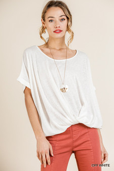 A Simple go to top for any occasion whether casual by itself or dressed up with a cardigan or jacket.  You will want one each color.  solid, short sleeve, gathered front tee type shirt.