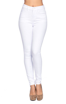 "Super Stretch Denim SOLID HIGH WAIST WHITE DENIM JEANS - WOMENS YOUNG CONTEMPORARY FIT PREMIUM JEANS  Designed with Butt Lifting patterns and made with Stretch Denim  Butt lift body shaping skinny jeans that have a nice stretch and real functional pockets  Women's Contemporary Fit - Waist Sizes: 1-25 3-26 5-27 7-28 9-29 11-30 13-31 15-32""  Inseam - 30"",   Fabric 74% Cotton, 23% Polyester, 3% Spandex"