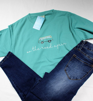 On the Road Again tee from Caddo Clothing is so irresistably cute!  Custom Printed from Caddo Clothing Company  100 % cotton Color Wash tee,