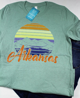 Who can resist a mountain sunset in Arkansas ?  we cant, so we created a tee shirt that is just as beautiful.  This Arkansas Mountain Sunset tee from Caddo Clothing Company is printed on a gorgeous minty green Bella Canvas tee.  short sleeves.