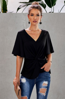 Sexy v neck is graceful and loved by modern ladies Flattering shape, chic twist front with pleats Elastic waist back accentuates a sexy curve Half sleeve cut looks more elegant than short sleeve blouses and shirts by Dear-Lover are fashionable
