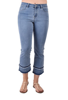 "Pull on Waist Flair Stretch Inseam 29"" Soft Medium Weight Blue Denim 88% Cotton 9%Polyester 3% Spandex Machine Wash, Do Not Bleach Tumble Dry Iron Low"