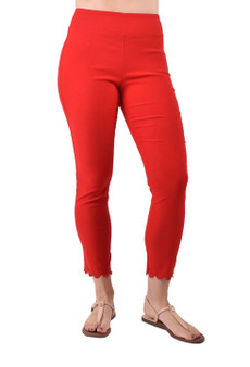 Red Pull on ankle pant with scalloped hem