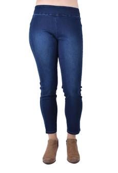 Denim pull on ankle pants   dark wash denim   ankle lenght pants,