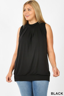 high neck pleated top with waistband sleeveless high neck pleated top with waitband  578% polyester 38 % Rayon