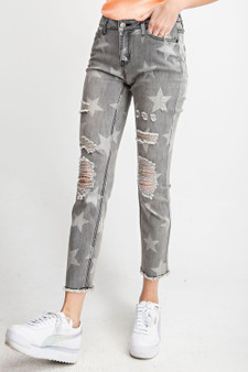 Star printed distressed washed denim pants star printed button closure zip fly pockets raw hem  70% cotton 20% polyester 9% rayon 1% spandex
