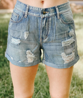 Lexi Destroyed Denim  - 100% Cotton  -Model is 5'7 and wears a size small
