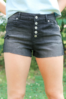 Midnight Denim Shorts  -81% Cotton, 17% Polyester, 2%Spandex  -Model height 5'6 wears size small