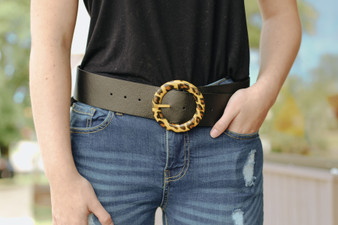 "Cameron Leopard Belt  -42"" x 2""  -Black with Yellow Ring"