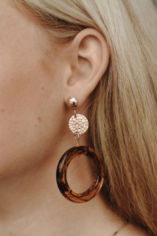 "On the Town Earrings  -2.8"" drop length x 1.6"" hoop width  -mod amber style hoop"