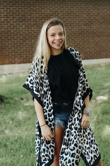 Emma Leopard Kimono  - Lightweight kimono that comes in brown or white  - One size fits all  - Model is 5'1