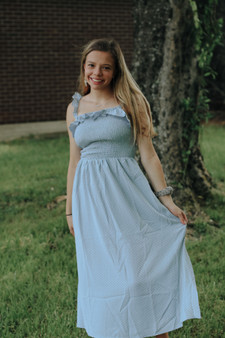 Aspen Midi Dress  - Baby blue polka dot midi dress  - Model is 5'1 and wears a size small